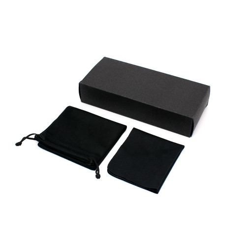 Custom Logo Black Eyewear Box Pouches Cleaning Clothes Packaging for sunglasses