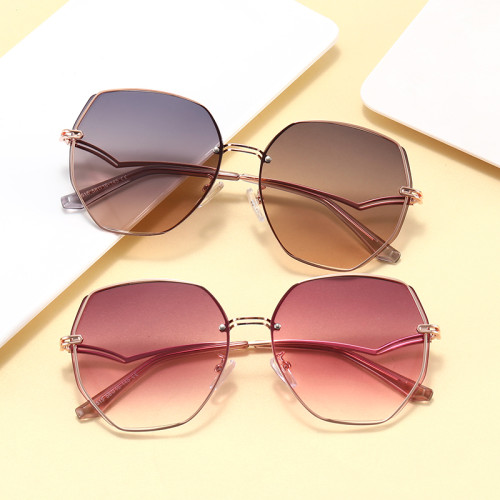 Fashion Women Round Metal Frame Outdoor Sunglasses