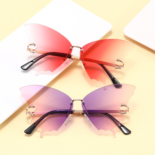 Fashion 2021 Ladies Rimless Butterfly Sunglasses