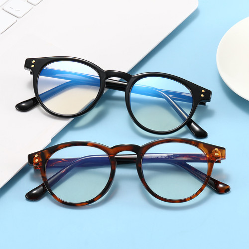 Retro TR90 Optical Frame with Anti Blue Light Lenses Round Glasses