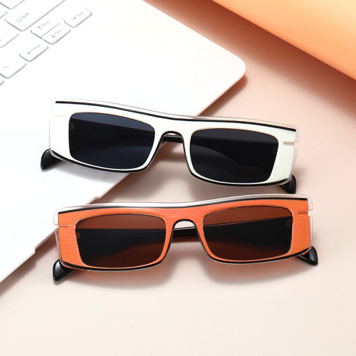 Fashion 2021 Retro Vintage Solid Plastic Small Rectangle Sunglasses