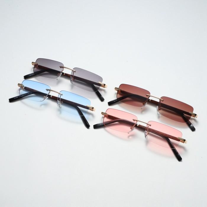 Retro Vintage Square Rimless Sunglasses