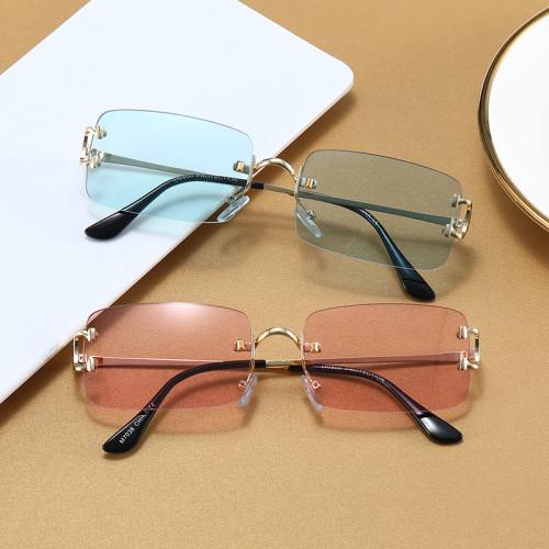 Fashion 2021 Women Rimless Small Rectangle Sun Glasses