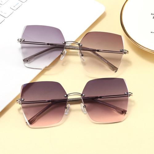 Fashion 2021 Diamond Cut Oversized Women Rimless Sunglasses