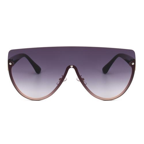 Half Frame Flat Top One Piece Lens Shades Sunglasses