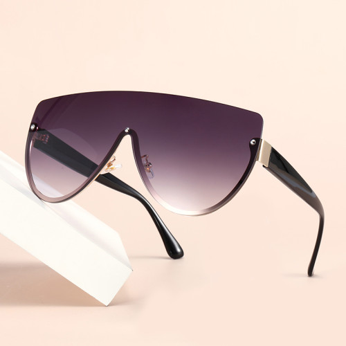 Half Frame Flat Top One Piece Lens Shades Sunglasses