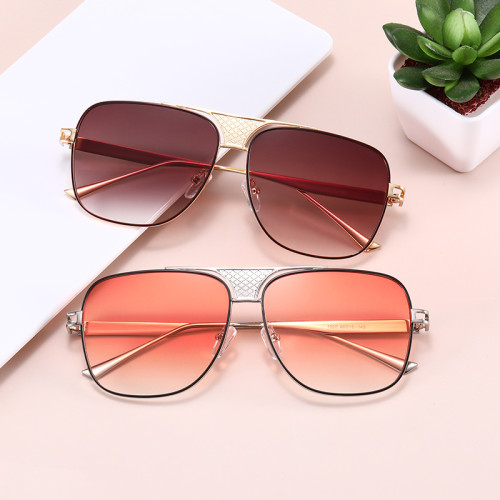 Men Women Square Metal Frame Outdoor Sunglasses