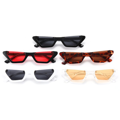 Women Brand Designer Half Frame Shades Small Cat Eye Sunglasses