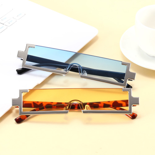 Fashion Plastic Rectangle 2021 See Through Lens Half Frame Sunglasses
