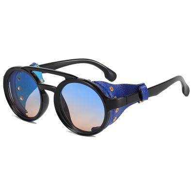 Retro Round Leather Side Shields Steampunk Sunglasses