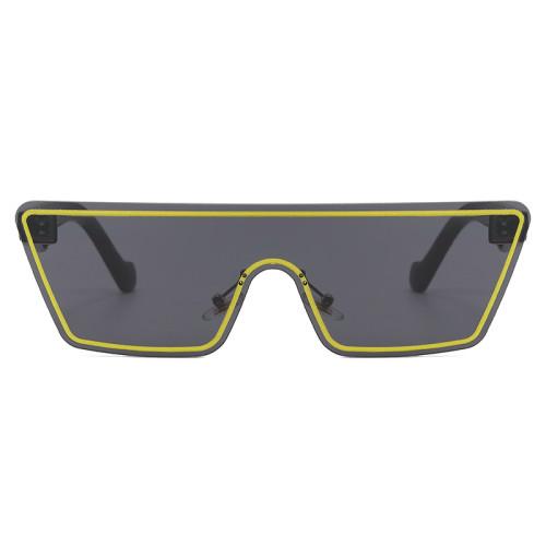 Fashion Oversized Shield Flat Top Sunglasses