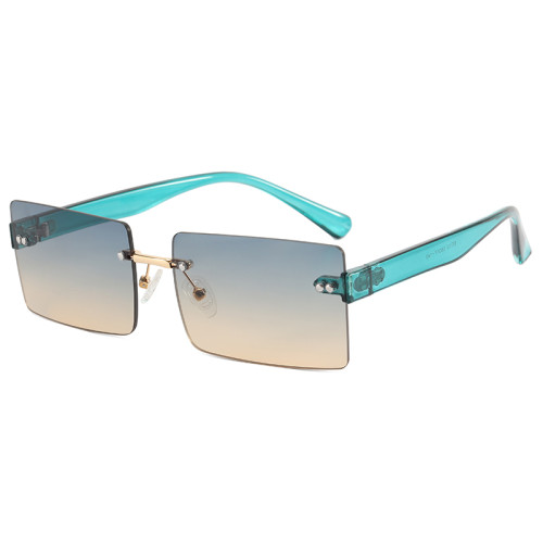 Retro Vintage Small Rimless Rectangular Sunglasses