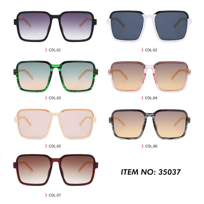 Women Luxury Glasses Square Rivet Chain Sunglasses