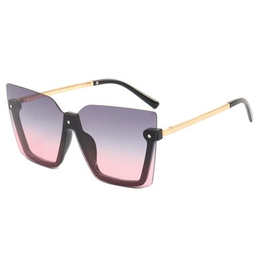 Square Half Rim Men Women Sunglasses