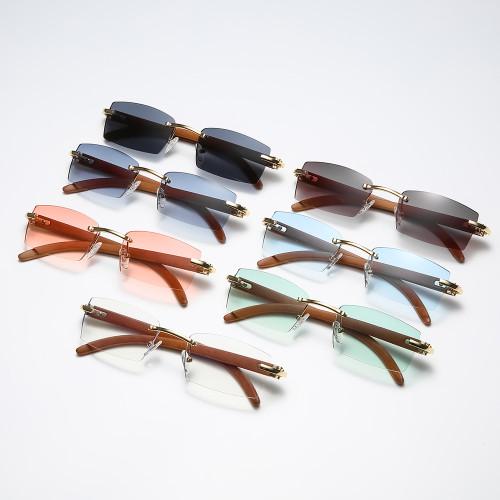 Rimless Rectangle Faux Wood Temple Sunglasses