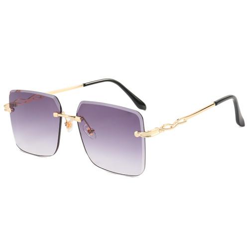 Diamond Cut Oversized Women Rimless Square Sunglasses