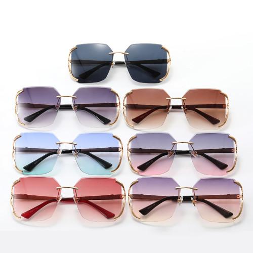 Diamond Cut Oversized Women Rimless Sunglasses