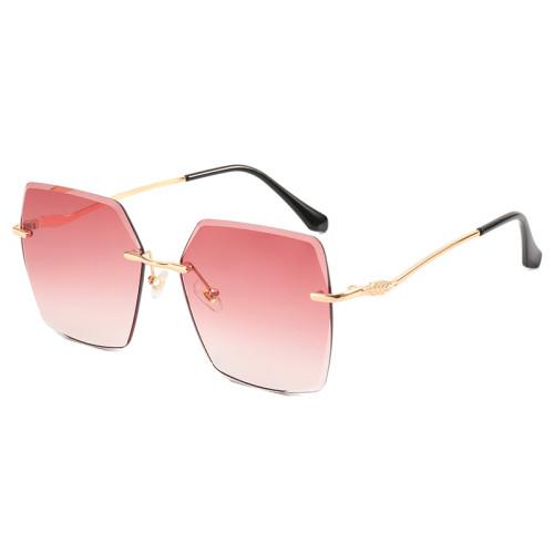 Diamond Cut Oversized Women Rimless Shades Sunglasses