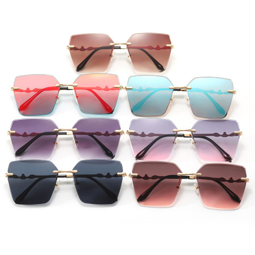 Diamond Cut Oversized Women Rimless Butterfly Sunglasses