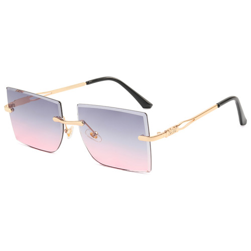 Women Rimless Square Sunglasses