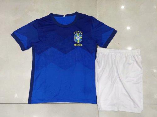 2020 Brazil Away Blue Kid Kit