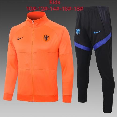 2020 Netherlands Orange Kid Jacket Suit