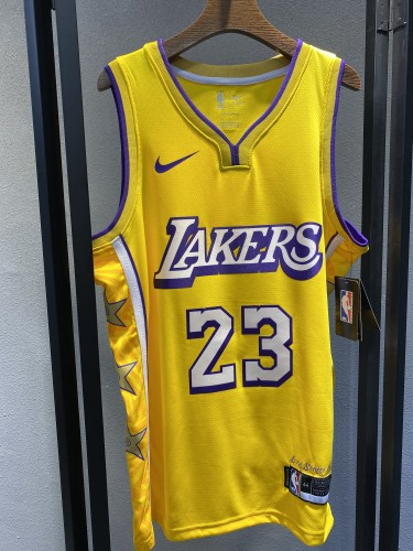 19-20 Lakers Yellow V-Neck Hot Pressed Jersey