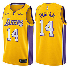 Lakers Yellow V-Neck Hot Pressed Jersey