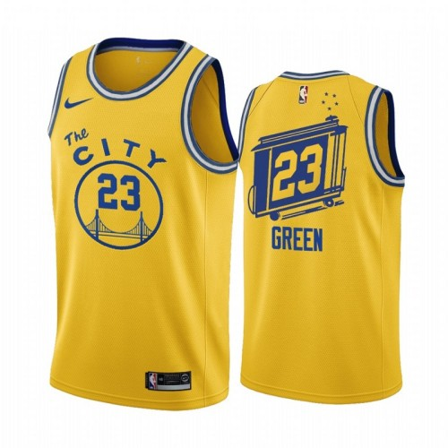 Golden State Retro Yellow  Hot Pressed Jersey