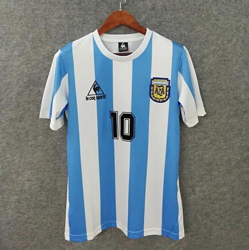 1986 Argentina  Home Jersey with 10# MARADONA