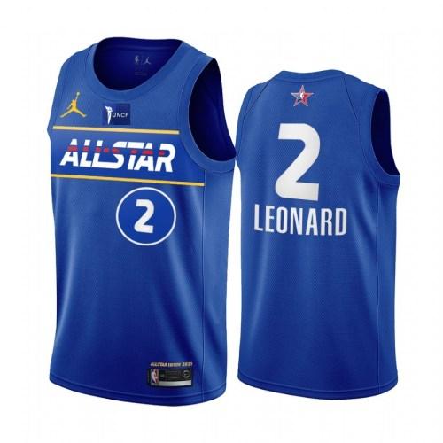 2021 NBA All Star Blue  2#LEONARD  Hot Pressed Jersey