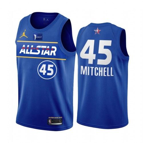2021 NBA All Star Blue  45#MITCHELL Hot Pressed Jersey