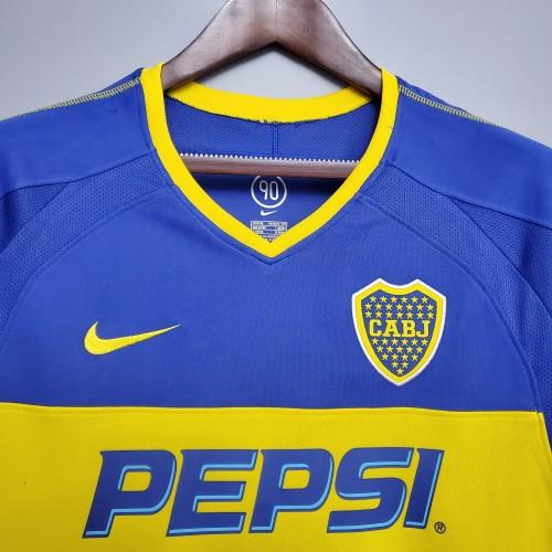0304 Boca Juniors Home  Long Sleeve Retro Jersey