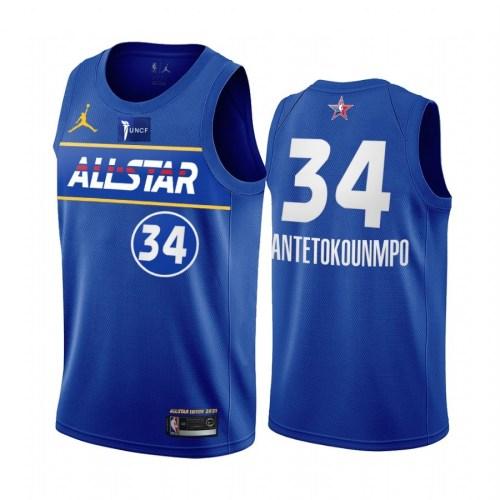 2021 NBA All Star Blue  34#ANTETOKOUNMPO Hot Pressed Jersey