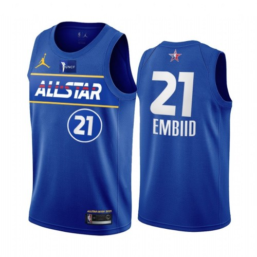 2021 NBA All Star Blue  21#EMBIID  Hot Pressed Jersey