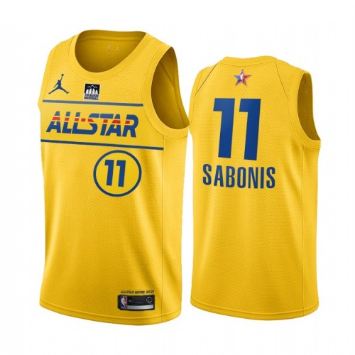 2021 NBA All Star Yesllow  11#SABONIS  Hot Pressed Jersey