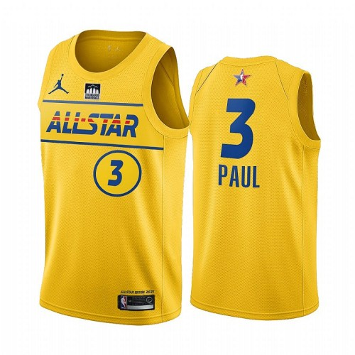 2021 NBA All Star Yesllow  3#PAUL Hot Pressed Jersey