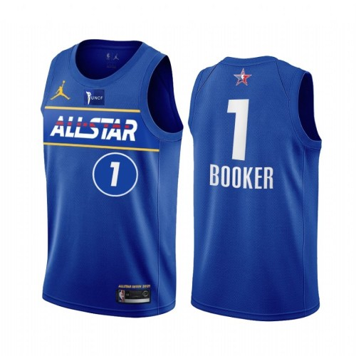 2021 NBA All Star Blue  1#BOOKER Hot Pressed Jersey