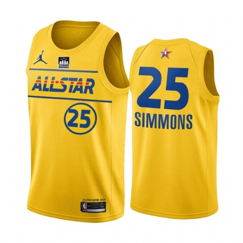 2021 NBA All Star Yesllow  25#SIMMONS Hot Pressed Jersey