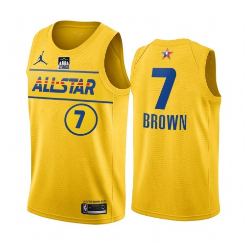 2021 NBA All Star Yesllow  7#BROWN  Hot Pressed Jersey