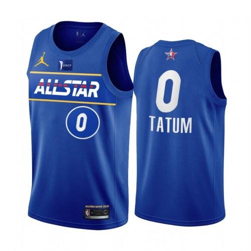 2021 NBA All Star Blue 0#TATUM  Hot Pressed Jersey