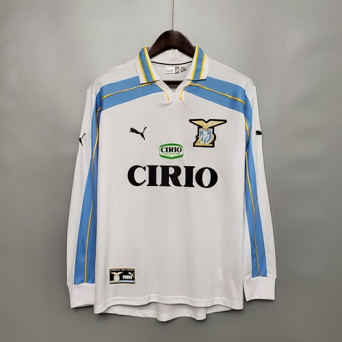 00-01 Lazio White Long Sleeve Retro Jersey