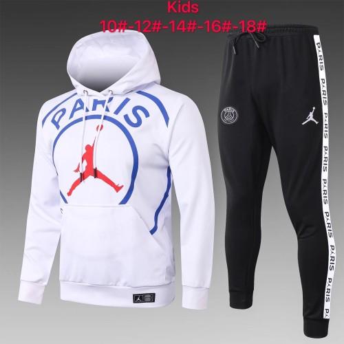20-21 PSG-Jordan White Hoodie Kid Training suit