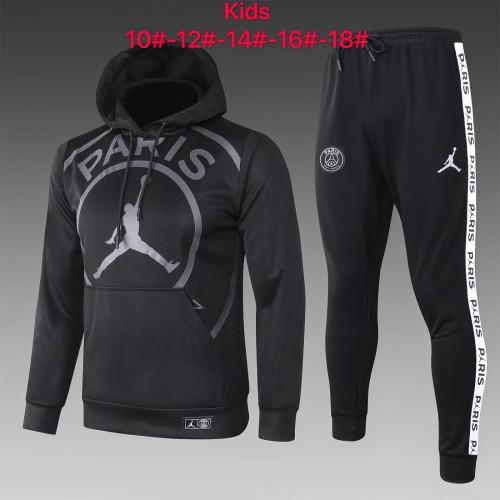 20-21 PSG-Jordan Black Hoodie Kid Training suit
