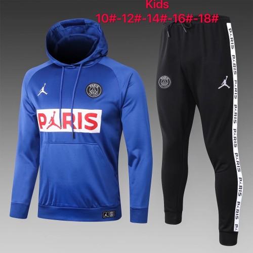 20-21 PSG Jordan Blue Hoodie Kid Training suit