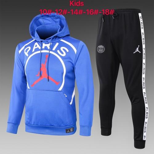 20-21 PSG Jordan-Blue Hoodie Kid Training suit