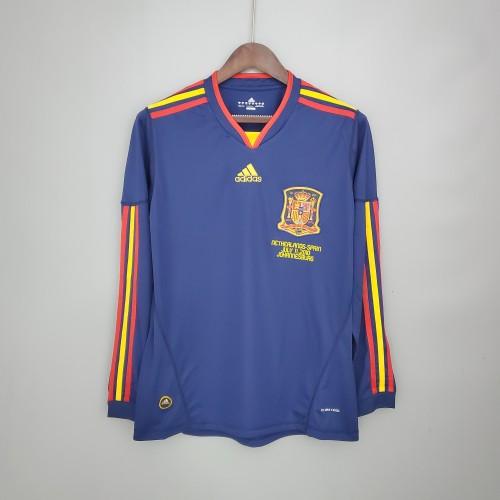 2010 Spain Away Long Sleeve  Retro Jersey