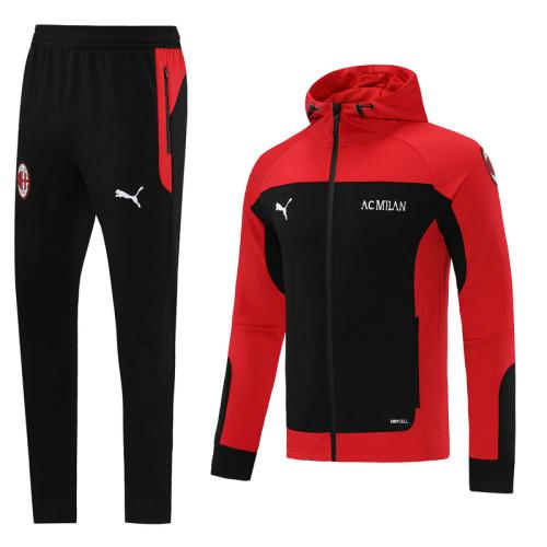 21-22 AC Milan Black-Red Hoodie Suit