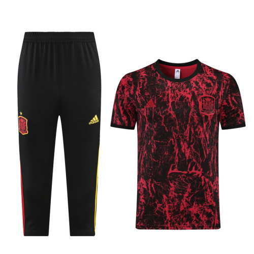 21-22 Spain Red training Suit(cropped pants)