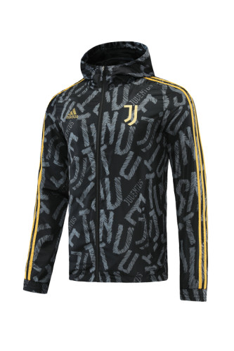21-22 Juventus Black Windbreaker S-XXL